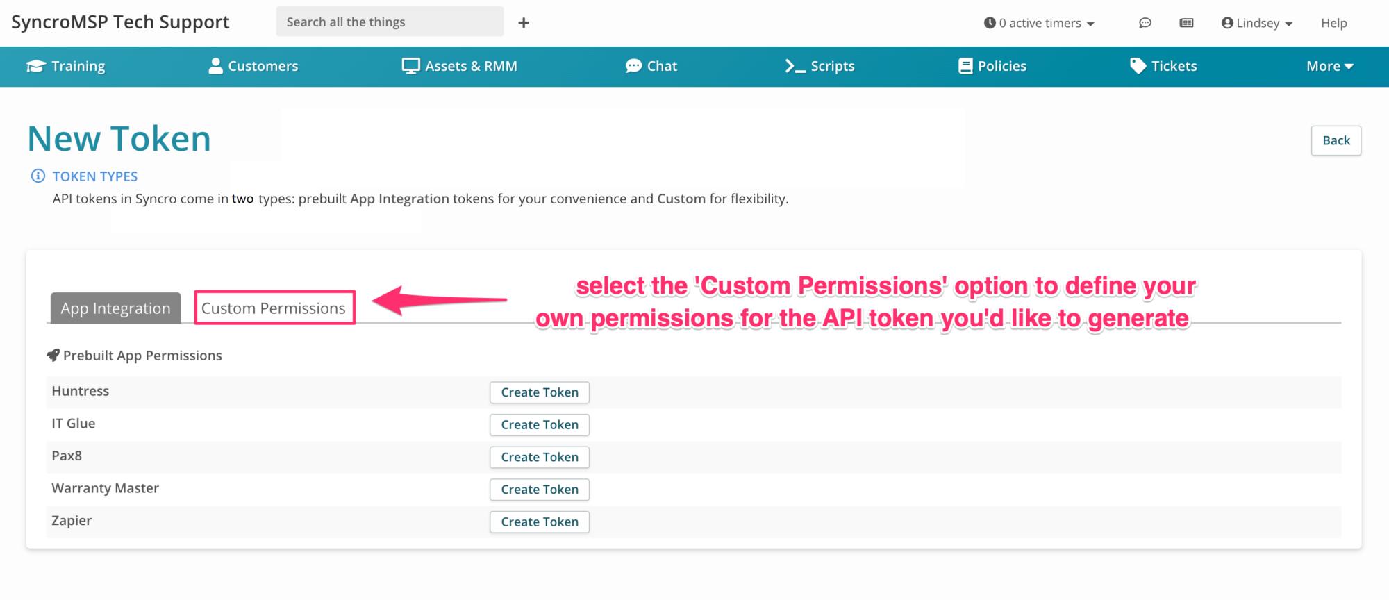 Syncro API Key Token Custom Permissions