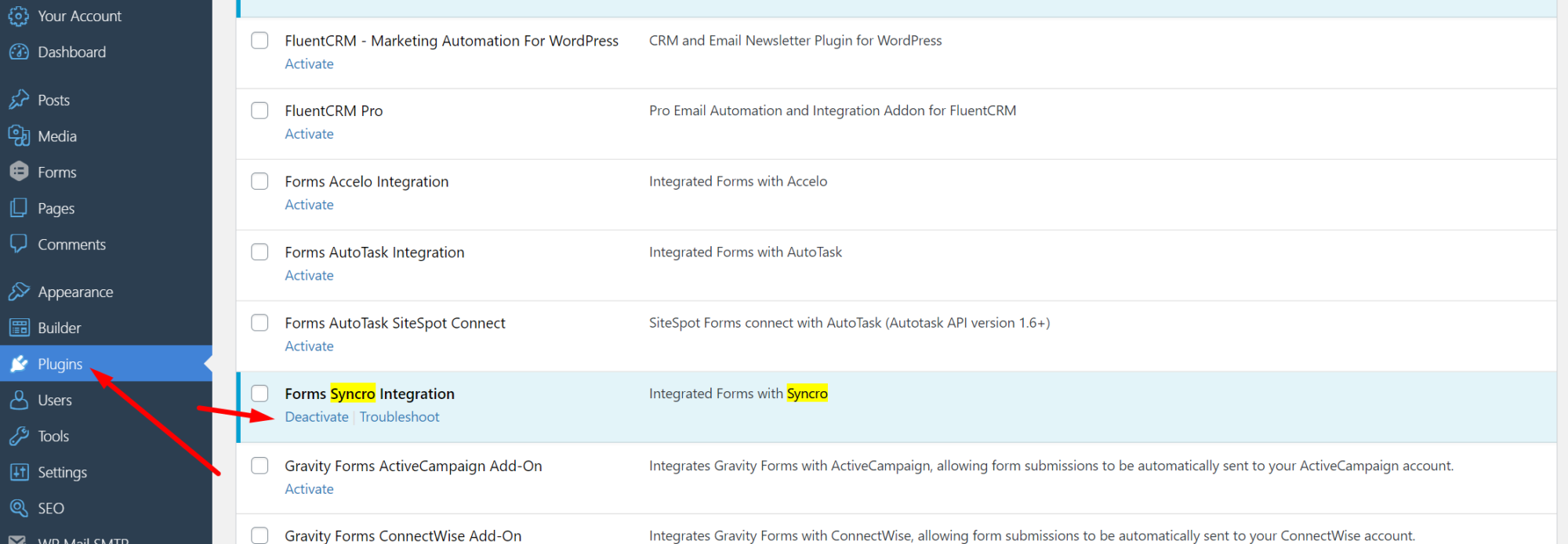 Activate Syncro Integration in the Plugins Menu